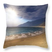 Blue Seas And Radient Sun Shine In This Throw Pillow