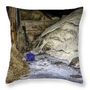 Blue Shovel Throw Pillow