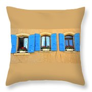 Blue Shutters In Provence Throw Pillow