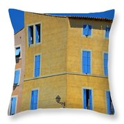 Blue Shutters Martigues France Throw Pillow