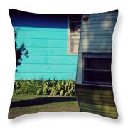 Blue Siding And Camper Throw Pillow