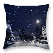 Blue Silent Night Throw Pillow