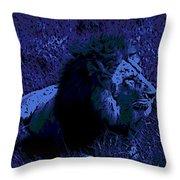 Blue Simba Throw Pillow