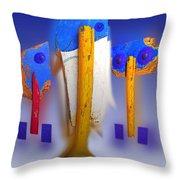 Blue Singers Throw Pillow