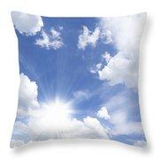 Blue Sky And Sun Ray Throw Pillow