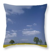 Blue Sky Covers A Yellow Field Throw Pillow