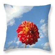 Blue Sky Nature Art Prinst Red Dahlia Flower Throw Pillow