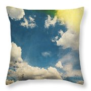 Blue Sky On Old Grunge Paper Throw Pillow