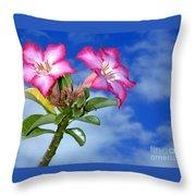Blue Sky Pink Flower Throw Pillow