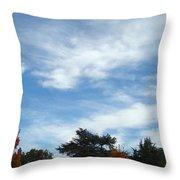 Blue Sky White Clouds Autumn Prints Throw Pillow