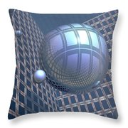 Blue Spheres Framed In Space Throw Pillow