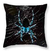 Blue Spider Throw Pillow