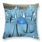 Blue Spikes Alien Terrain Throw Pillow