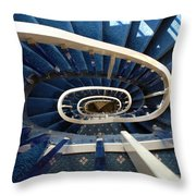 Blue Spiral Stairsway Throw Pillow