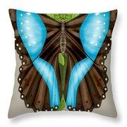 Blue Tiled Butterfly Throw Pillow