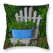 Blue Tub Throw Pillow
