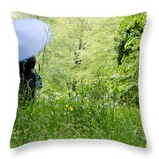 Blue Umbrella Throw Pillow