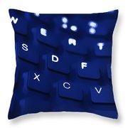 Blue Warped Keyboard Throw Pillow