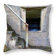 Blue Window Bunker Throw Pillow