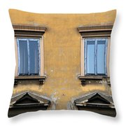Blue Windows On A Yellow Wall In Milan Throw Pillow