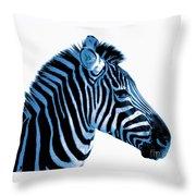 Blue Zebra Art Throw Pillow by Rebecca Margraf