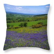 Bluebell Flowers On A Landscape, County Throw Pillow