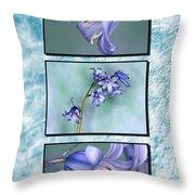 Bluebell Triptych Throw Pillow