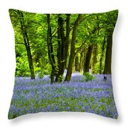 Bluebell Woods Throw Pillow