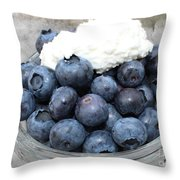 Blueberries And Cottage Cheese Throw Pillow