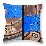 Bluer Sewer Diptych Throw Pillow