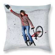 Bmx Flatland In The Snow - Monika Hinz Throw Pillow