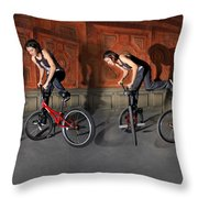Bmx Flatland Motion Study - Monika Hinz Throw Pillow