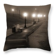 Boardwalk In The Fog Throw Pillow