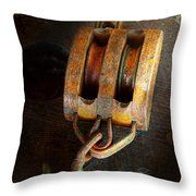Boat - Block And Tackle II Throw Pillow