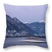 Boat And Alps Throw Pillow