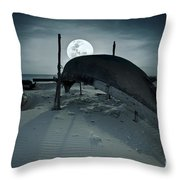 Boat And Moon Throw Pillow