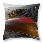 Boat And Sunlight Throw Pillow