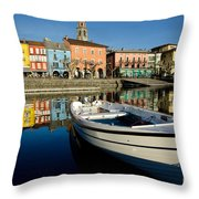 Boat And Village Throw Pillow