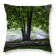 Boat By The Pond 2 Throw Pillow