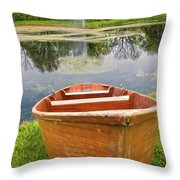 Boat By The Pond Throw Pillow