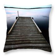 Boat Dock At Smallfish Lake In Scenic Saskatchewan Throw Pillow