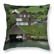 Boat House On A Mountain Slope On The Shore Of Lake Lucerne In Switzerland Throw Pillow