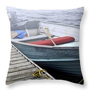 Boat In Fog Throw Pillow