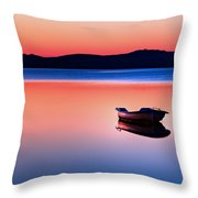 Boat In Sunset II Throw Pillow