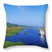 Boat In The River, Shannon-erne Throw Pillow
