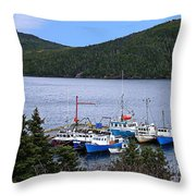 Boat Lineup Throw Pillow
