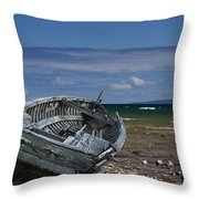 Boat Lying Shipwrecked On A Lake Michigan Shore Throw Pillow
