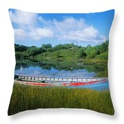 Boat Moored At A Harbor, Ellens Rock Throw Pillow