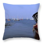 Boat Moored In The Sea, Strangford Throw Pillow