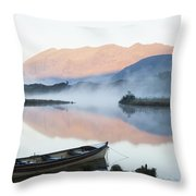Boat On A Tranquil Lake Killarney Throw Pillow